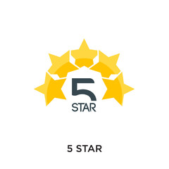 5 star logo isolated on white background for your web, mobile and app design