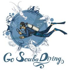 Scuba diving logo. Diver with scuba . Scuba-diving. Vector diver character.