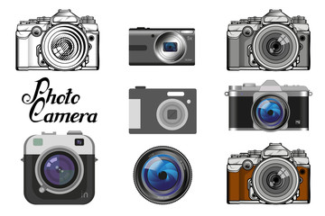 Set of different camera icon. Retro Camera logo. Vintage Photocamera. Photo camera isolated on white background.
