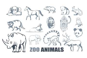 Set of different zoo animals. ZOO.