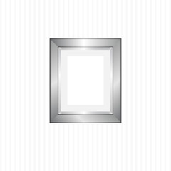 Vector blank silver picture frame hanging on the  striped wall