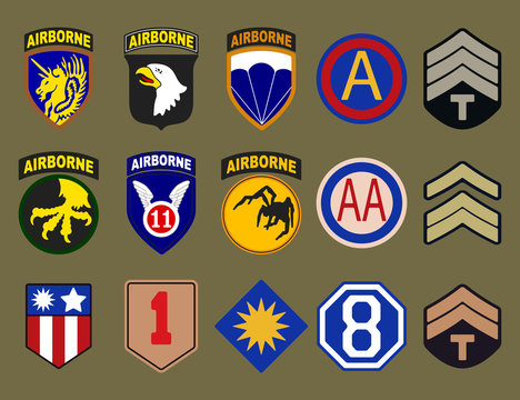 Airborne, air force and army patches