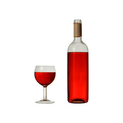 Fototapeta otwarta butelka czerwonego wina z kielichem obraz