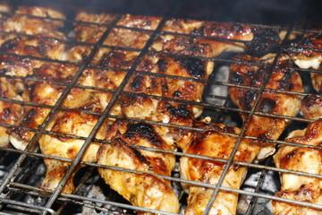 shish kebab kebab cooked in barbecue- Mangalda pişen kebab