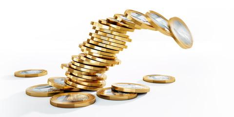 Kippender Stapel von Euromünzen im Closeup vor Weiss