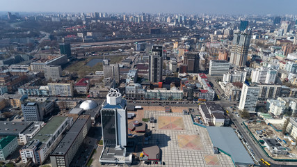 Aerial view above Kiev bussines and industry city landscape.