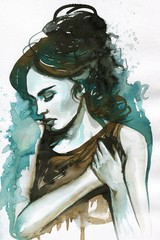 Aluminium Prints Painterly Inspiration Portrait of a beautiful and sensual woman.