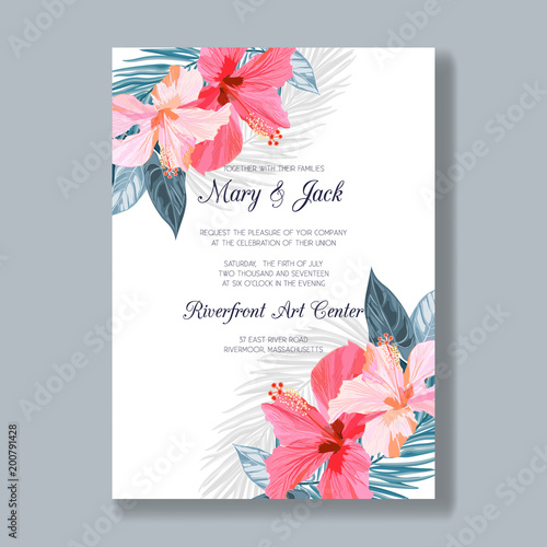 wedding invitation template with tropical flowers and leaves thank