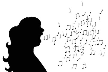 Vector silhouette of woman who sing on white background.