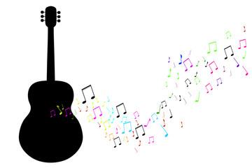 Vector illustration of guitar on white background. Fototapete