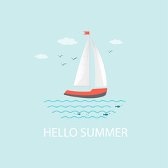 Banner, poster, card with text Hello Summer and  nautical vehicles: sail boat, ship, vessel, luxury yacht, speedboat