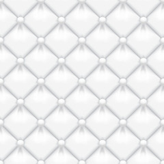 White padded leather upholstery vector seamless pattern. Quilted leather texture with buttons