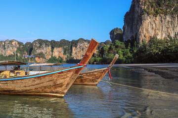 Long boat on Andaman sea, Poda island in Thailand