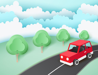 Paper art background with red car on the road near green lawn with trees. Fluffy paper clouds. Vacation and travel concept. Vector illustration