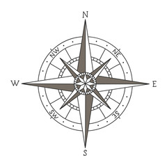 Hand drawn vector compass isolated on white background