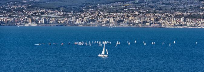 Sailboats in navigation at sea