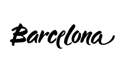 Barcelona. Ink hand lettering. Modern brush calligraphy. Handwritten phrase. Inspiration graphic design element.
