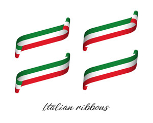 Set of four modern colored vector ribbons with Italian tricolor isolated on white background, flag of Italy, Italian ribbons
