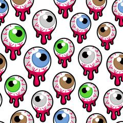 Vector seamless pattern with the bloody zombie or alien eyeballs on white background. Creepy, psychedelic eyes wallpaper.