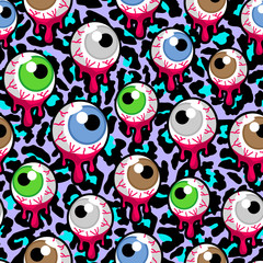 Vector seamless pattern with the bloody zombie or alien eyeballs. Creepy, psychedelic eyes background.