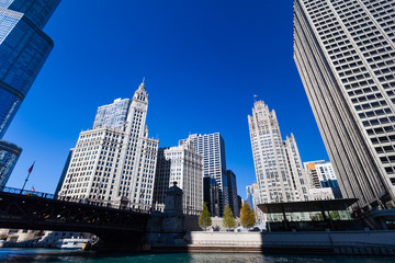 Wide angle shot of Chicago Riverside with Wrigley Building and Tribune Tower