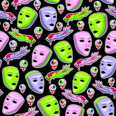 Alien masks and hands with bloody eyeballs seamless pattern. Black background. Modern space design for textiles, fabrics, wrapping paper, wallpapers. Vector illustration.