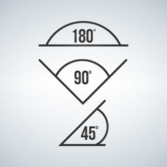 angle icon set, 180, 90, 45. Vector illustration isolated on modern background.
