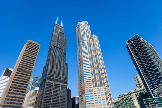 Wide angle shot of various Chicago Skyscrapers including the Willis Tower (Sears Tower)