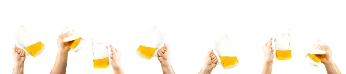 Fotobehang Bier / Cider Bunch Of Hands Holding Mugs Of Beer Up At Party Giving A Cheers Isolated On White Background