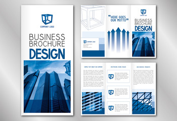 Business trifold brochure template - modern office buildings/ skyscrapers.