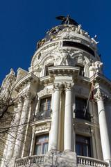 Gran Via and Metropolis Building in City of Madrid, Spain