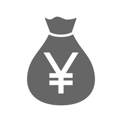 Money bag currency simple design icon. Japanese yen moneybag icon. Japan yen money sack.