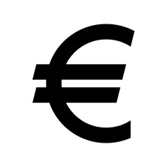 Euro currency symbol. Black silhouette euro sign.