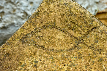 Ichthus christian symbol in stone