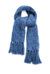 Blue warm scarf on a white background