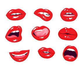 Red lips collection. Woman mouth with a kiss, smile, tongue and teeth isolated on background. Isolated on white.
