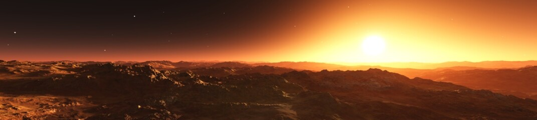 panorama of an alien landscape, mercury at sunset, 3D rendering