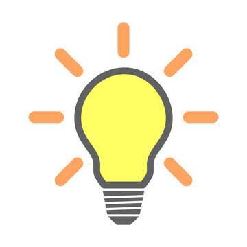 Simple, flat, yellow light bulb icon. Grey, yellow and orange. Isolated on white