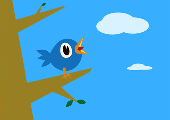 A blue bird singing over a tree branch in a sunny day. Vector illustration