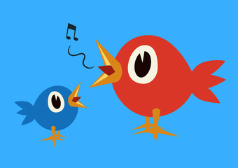 Two round singing birds over a blue background. Vector illustration