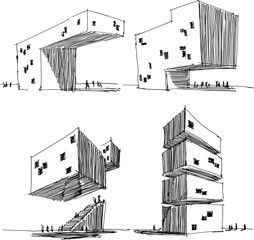 four hand drawn architectectural sketches of a modern abstract architecture