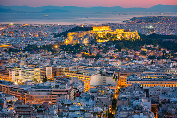 Panoramic aerial view of Athens, Greece at summer sunset