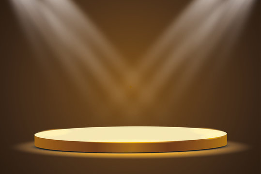 Golden podium with a spotlight on a dark background, the first place, fame and popularity. Vector illustration