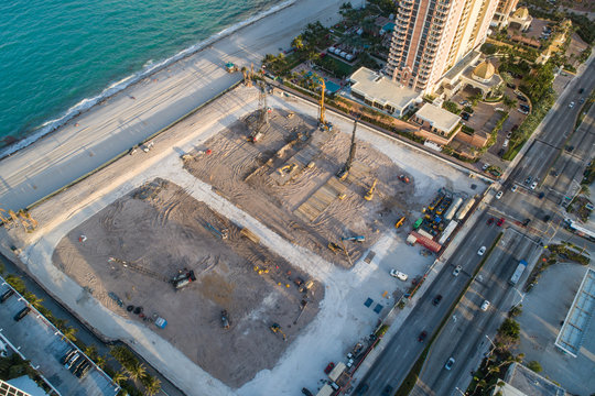 Aerial inspection beachfront construction site