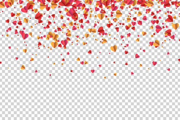 Vector realistic isolated heart confetti for decoration and covering on the transparent background. Concept of Happy Mother's Day.