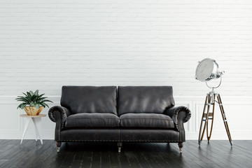 3d render of beautiful interior setup with leather couch and wooden floor