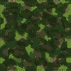 Urban camouflage seamless pattern. Abstract military hexagon style. Camouflage seamless pattern for army, navy, hunting, fashion cloth textile. Colorful modern soldier style. Vector honeycomb texture.