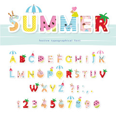 Summer font. Creative cartoon letters and numbers. For posters, banners, kids birthday, clothing design.
