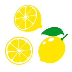 Icon lemon. Set fresh lemon fruits and slice. Isolated on white background. Vector