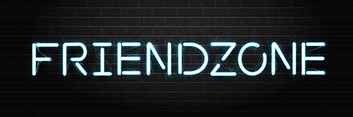 Vector realistic isolated neon sign of Friendzone lettering for decoration and covering on the wall background.